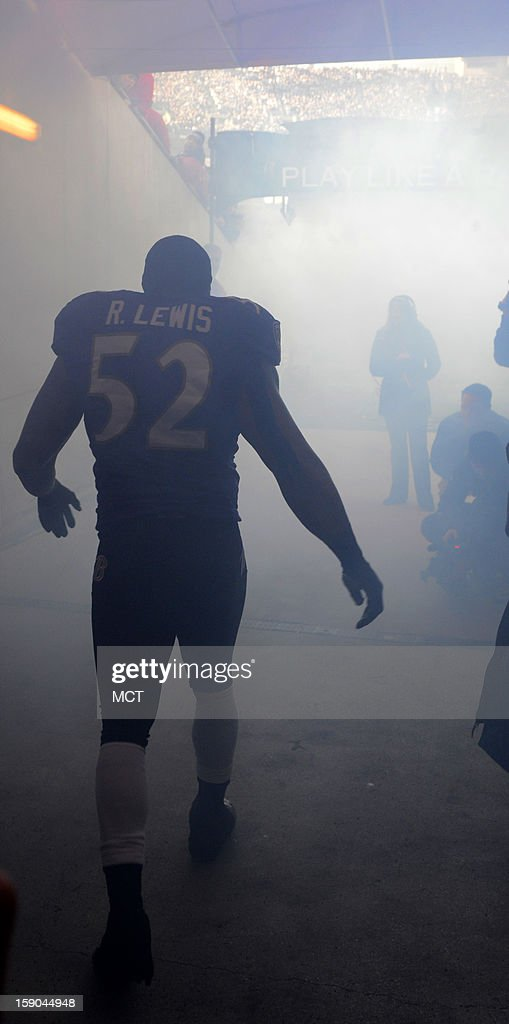Ray Lewis prepares to leave the tunnel during pre-game introductions before the Ravens and Colts battle in their AFC playoff game in Baltimore, Maryland, on Sunday, January 6, 2013.
