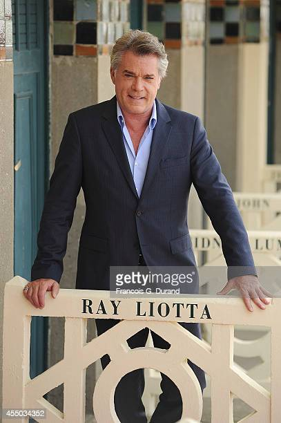 Ray Liotta poses for the photographers after he unveiled his cabin sign as a tribute for his career along the Promenade des Planches during the 40th...