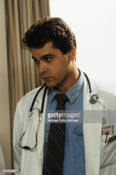 Ray Liotta with stethoscope around his neck in a scene from the film 'Dominick And Eugene' 1988