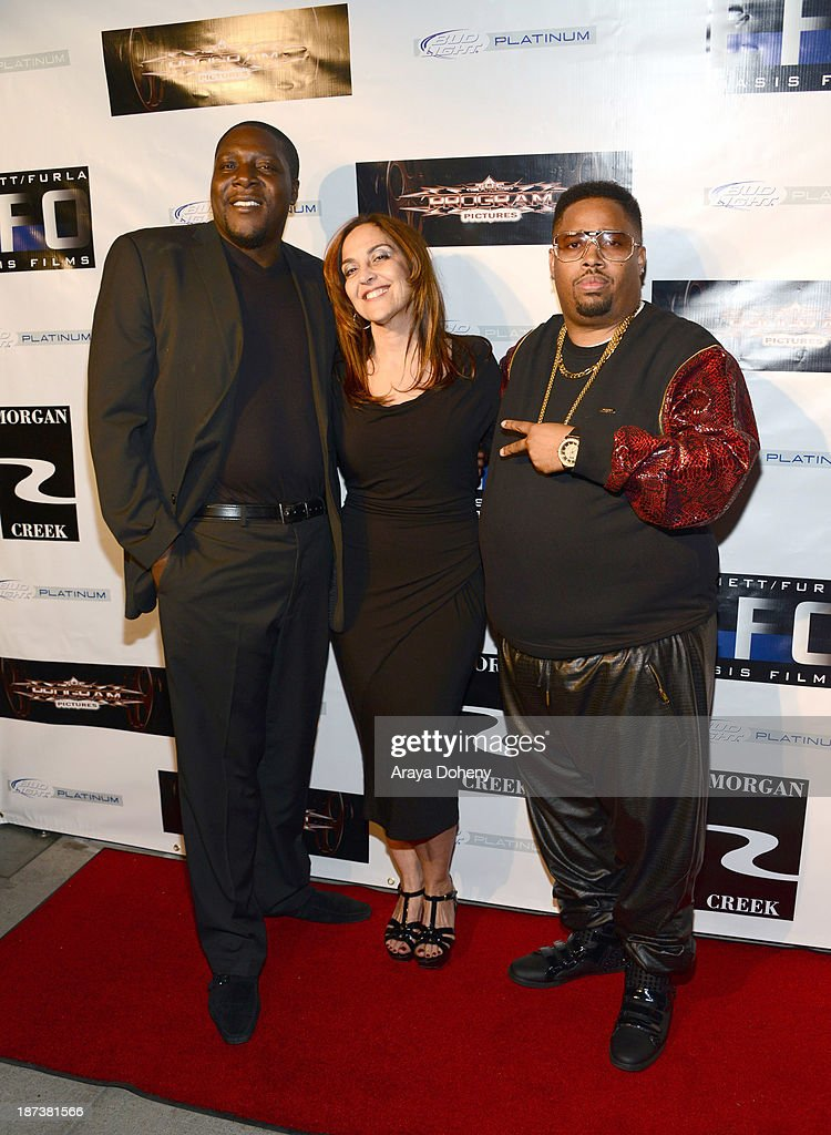 Ray Luv, Leila Steinberg and L.T. Hutton attend the Emmett/Furla/Oasis Films hosts celebration for the upcoming production of 'Tupac' at Zanzibar on November 7, 2013 in Santa Monica, California.