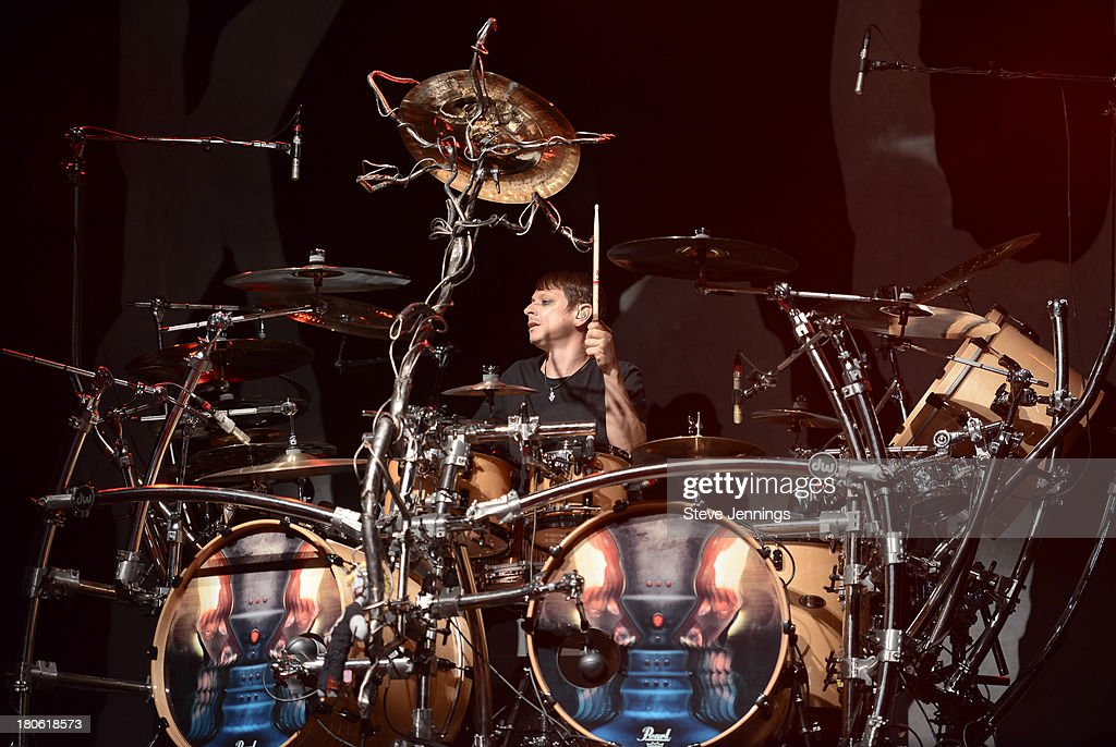 Ray Luzier of Korn performs on Day 1 of Monster Energy Aftershock Festival at Discovery Park on September 14, 2013 in Sacramento, California.
