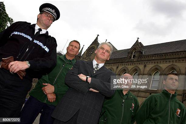Ray Mallon the Mayor of Middlesbrough with Chief Supt Dave Lumb the Police District Commander for Middlesbrough and Community wardens at the Town...