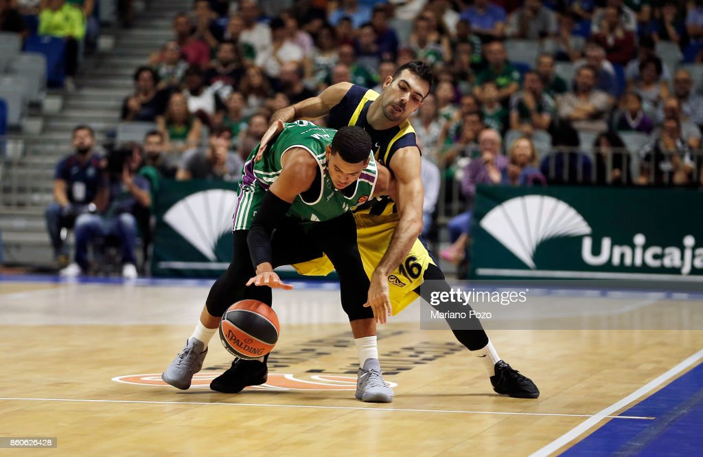 Ray McCallum, #3 of Unicaja Malaga competes with Kostas Sloukas, #16 of Fenerbahce Dogus Istanbul during the 2017/2018 Turkish Airlines EuroLeague Regular Season Round 1 game between Unicaja Malaga v Fenerbahce Dogus Istanbul at Martin Carpena Arena on October 12, 2017 in Malaga, Spain.
