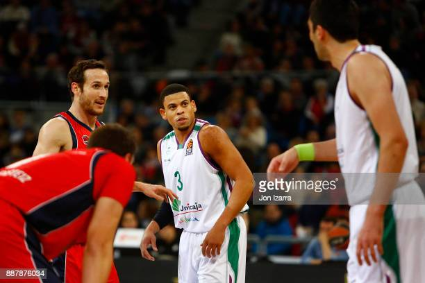 Ray McCallum #3 of Unicaja Malaga in action during the 2017/2018 Turkish Airlines EuroLeague Regular Season Round 11 game between Baskonia Vitoria...