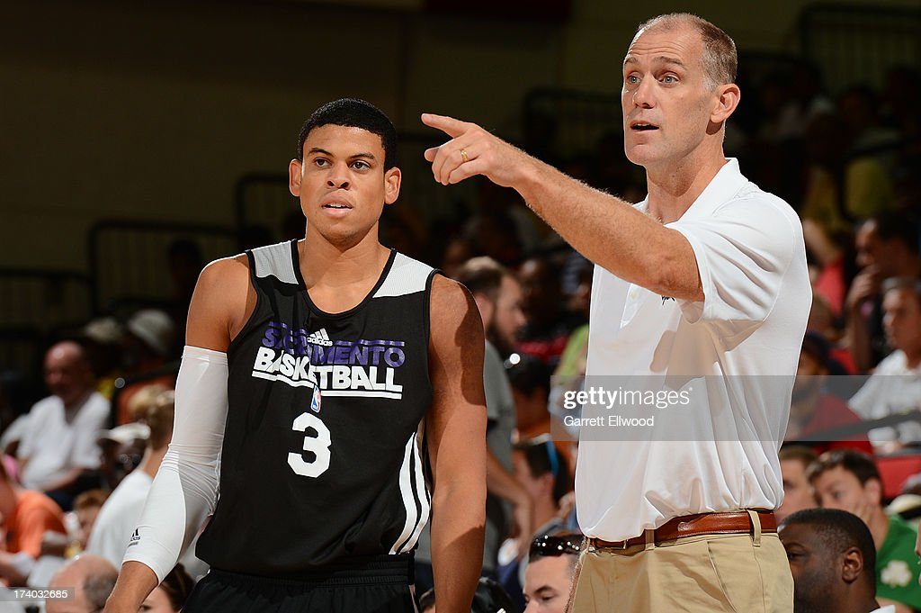 Ray McCallum #3 and Coach Chris Jent of the Sacramento Kings versus the Atlanta Hawks during NBA Summer League on July 19, 2013 at the Cox Pavilion in Las Vegas, Nevada.