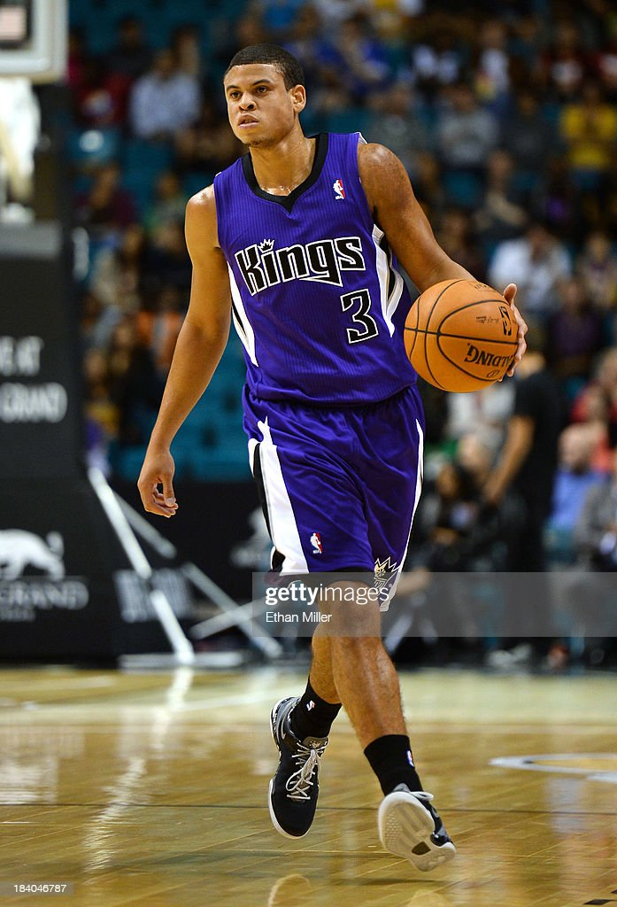 Ray McCallum #3 of the Sacramento Kings brings the ball up the court against the Los Angeles Lakers during their preseason game at the MGM Grand Garden Arena on October 10, 2013 in Las Vegas, Nevada. Sacramento won 104-86.