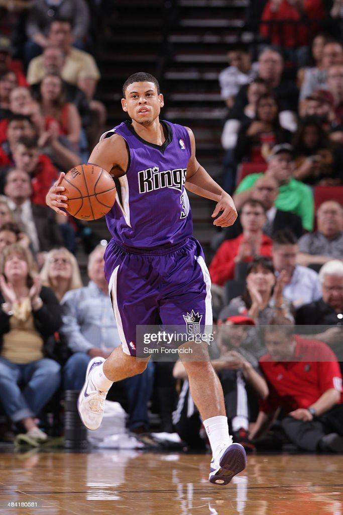 Ray McCallum #3 of the Sacramento Kings dribbles the ball up court against the Portland Trail Blazers on April 9, 2014 at the Moda Center Arena in Portland, Oregon.