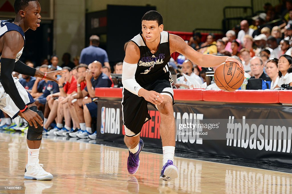 Ray McCallum #3 of the Sacramento Kings dribbles the ball versus the Atlanta Hawks during NBA Summer League on July 19, 2013 at the Cox Pavilion in Las Vegas, Nevada.