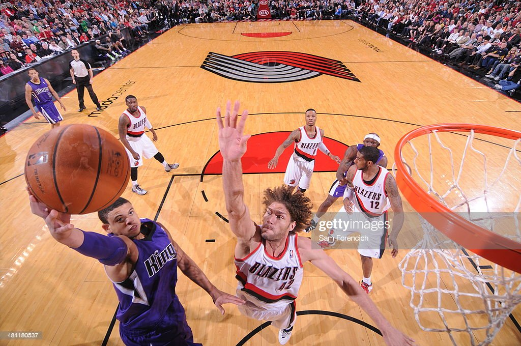 Ray McCallum #3 of the Sacramento Kings drives to the basket against the Portland Trail Blazers on April 9, 2014 at the Moda Center Arena in Portland, Oregon.