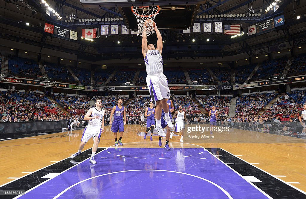 Ray McCallum #3 of the Sacramento Kings dunks against the Phoenix Suns on October 17, 2013 at Sleep Train Arena in Sacramento, California.