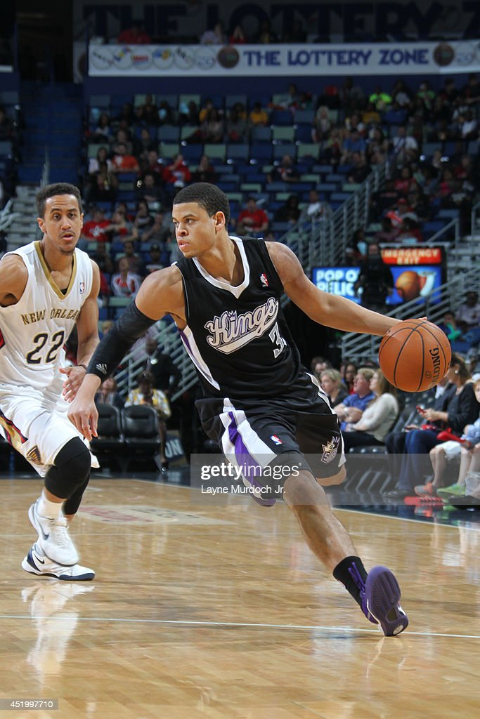 Ray McCallum #3 of the Sacramento Kings handles the ball against the New Orleans Pelicans during an NBA game on March 31, 2014 at the Smoothie King Center in New Orleans, Louisiana.