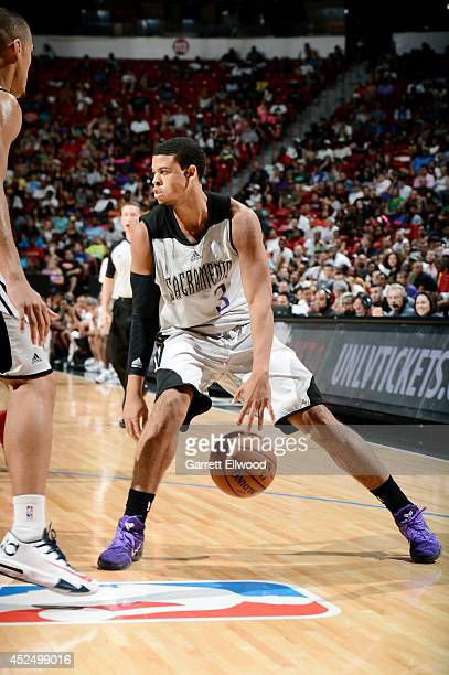Ray McCallum of the Sacramento Kings handles the ball against the Houston Rockets during the Samsung NBA Summer League 2014 on July 21 2014 at the...