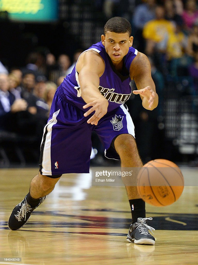 Ray McCallum #3 of the Sacramento Kings passes the ball up the court against the Los Angeles Lakers during their preseason game at the MGM Grand Garden Arena on October 10, 2013 in Las Vegas, Nevada. Sacramento won 104-86.