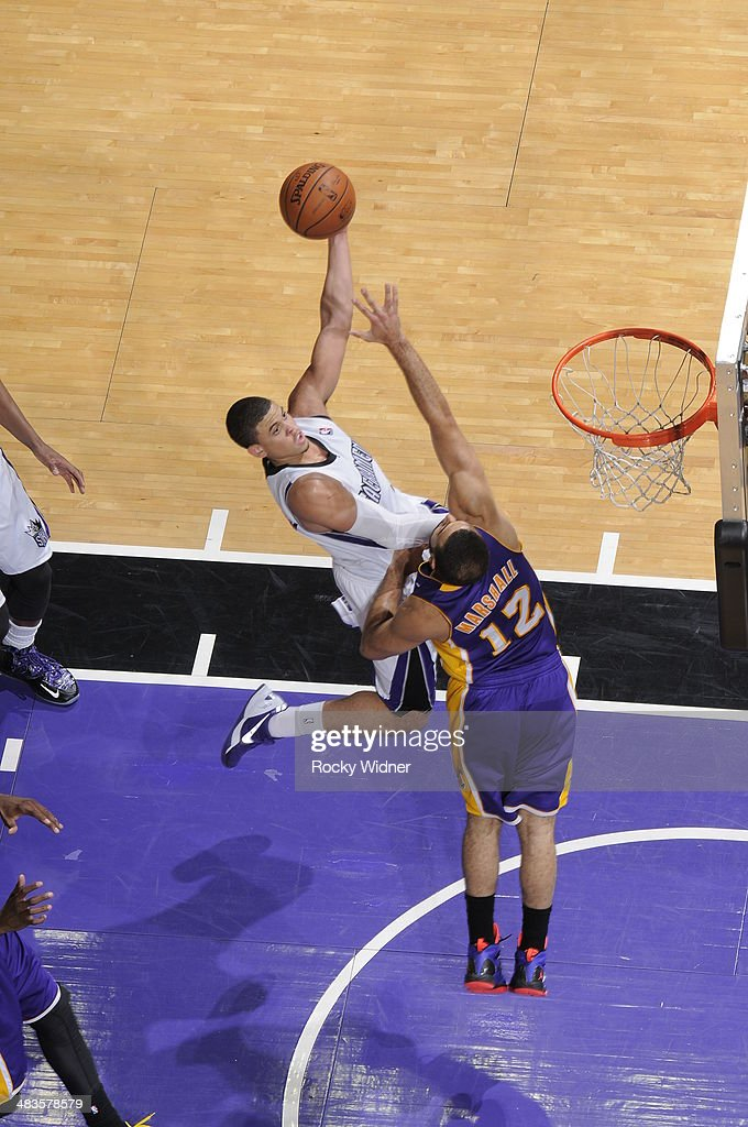 Ray McCallum #3 of the Sacramento Kings puts up a shot against <a gi-track='captionPersonalityLinkClicked' href=/galleries/search?phrase=Kendall+Marshall&family=editorial&specificpeople=6783056 ng-click='$event.stopPropagation()'>Kendall Marshall</a> #12 of the Los Angeles Lakers on April 2, 2014 at Sleep Train Arena in Sacramento, California.
