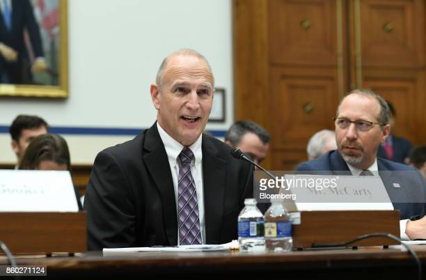 Ray McCarty president and chief executive officer of the Associated Industries of Missouri speaks during a House Transportation Committee hearing in...