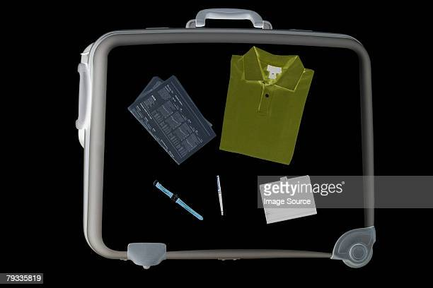 X ray of objects in suitcase