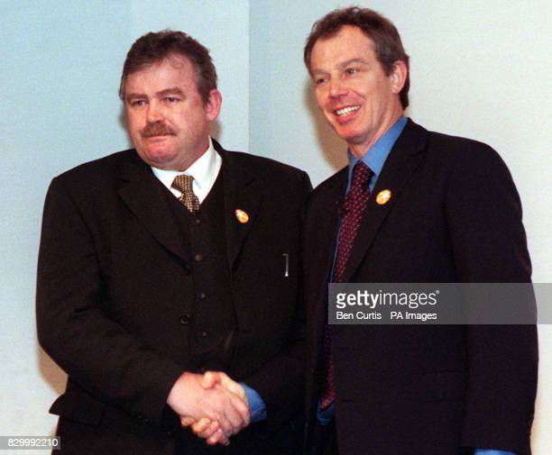 Ray Porter founder of Wirral based Porter Construction shakes hands with Prime Minister Tony Blair at the launch in London today of the Government's...