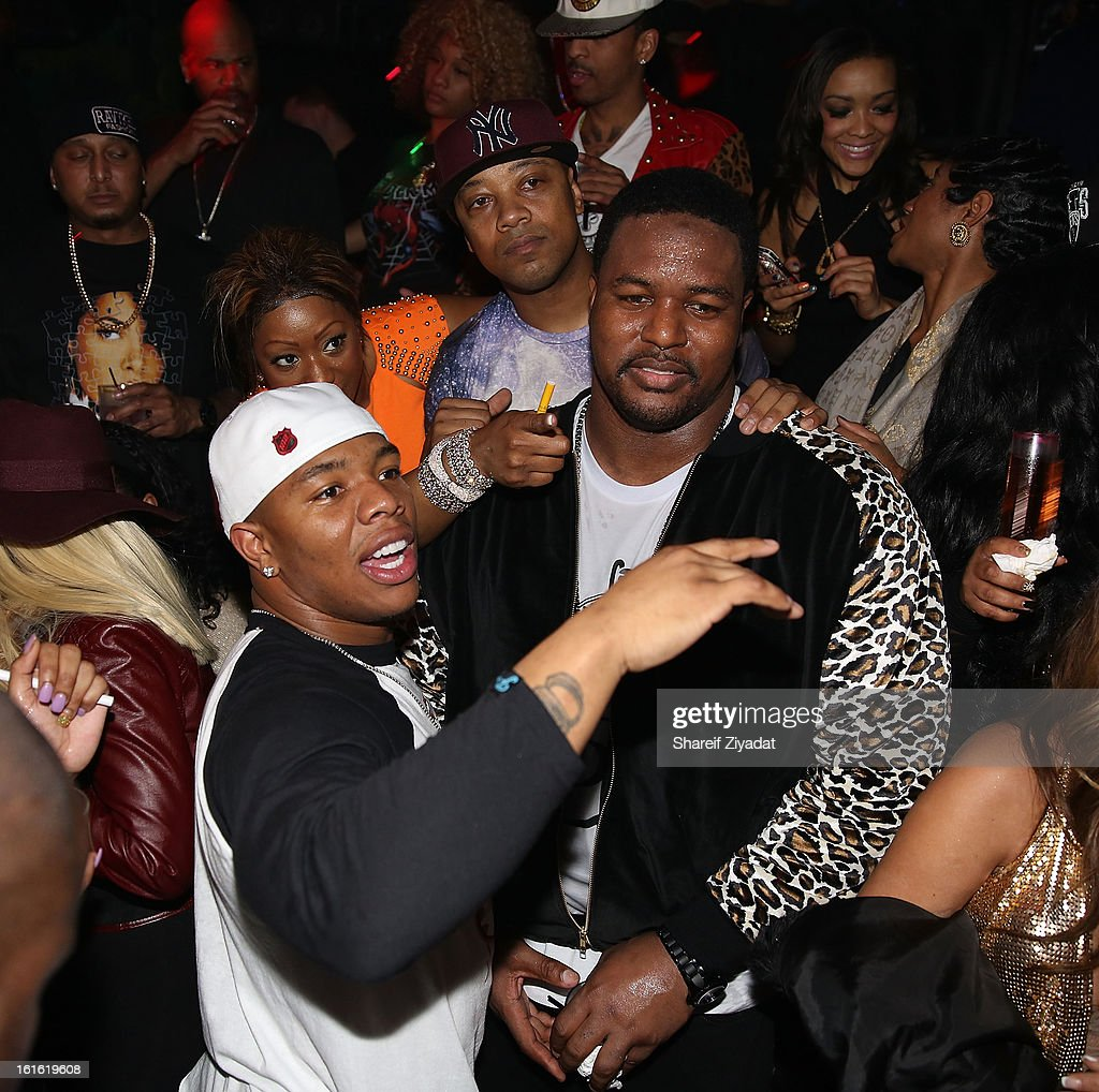 Ray Rice and Bryant McKinnie attends the official victory party of the Baltimore Ravens at Greenhouse on February 13, 2013 in New York City.
