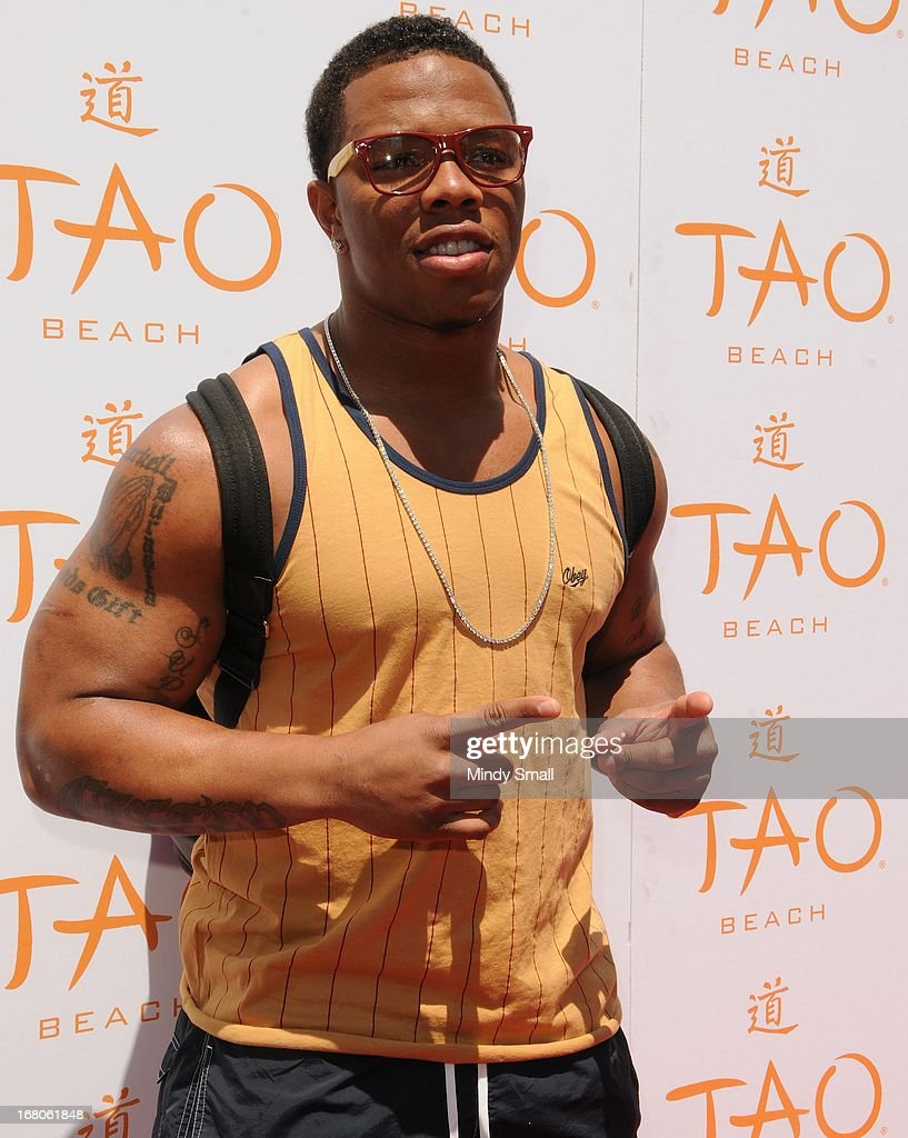 <a gi-track='captionPersonalityLinkClicked' href=/galleries/search?phrase=Ray+Rice&family=editorial&specificpeople=3980395 ng-click='$event.stopPropagation()'>Ray Rice</a> attends the grand opening season of Tao Beach at the Venetian Hotel and Casino on May 4, 2013 in Las Vegas, Nevada.