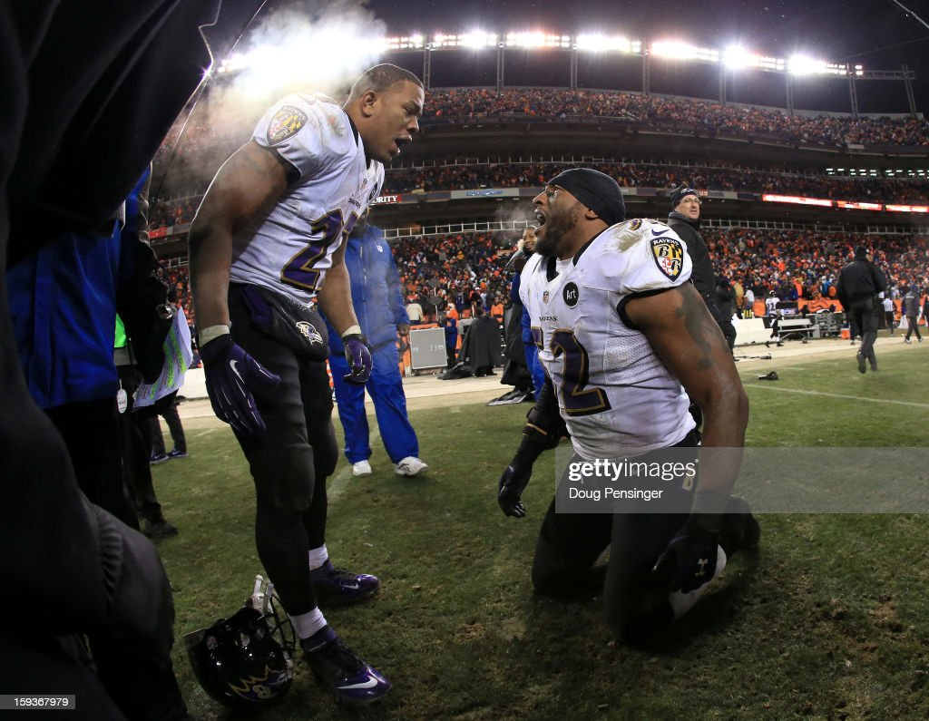 Ray Rice #27 of and Ray Lewis #52 of the Baltimore Ravens celebrate after the Ravens won 38-35 in the second overtime against the Denver Broncos during the AFC Divisional Playoff Game at Sports Authority Field at Mile High on January 12, 2013 in Denver, Colorado.