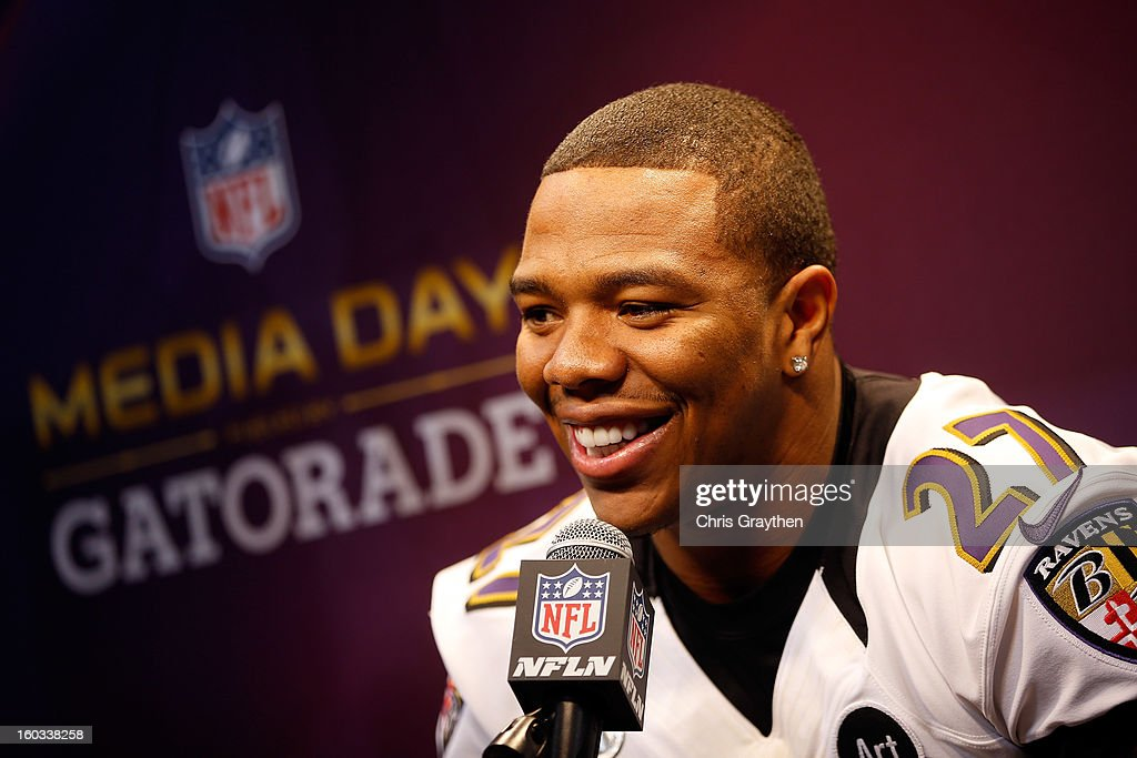 Ray Rice #27 of the Baltimore Ravens answers questions from the media during Super Bowl XLVII Media Day ahead of Super Bowl XLVII at the Mercedes-Benz Superdome on January 29, 2013 in New Orleans, Louisiana. The San Francisco 49ers will take on the Baltimore Ravens on February 3, 2013 at the Mercedes-Benz Superdome.