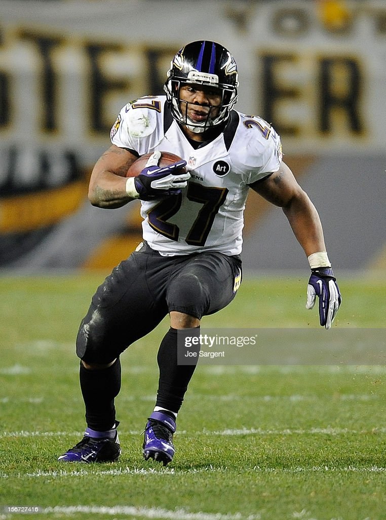 Ray Rice #27 of the Baltimore Ravens carries the ball against the Pittsburgh Steelers on November 18, 2012 at Heinz Field in Pittsburgh, Pennsylvania.