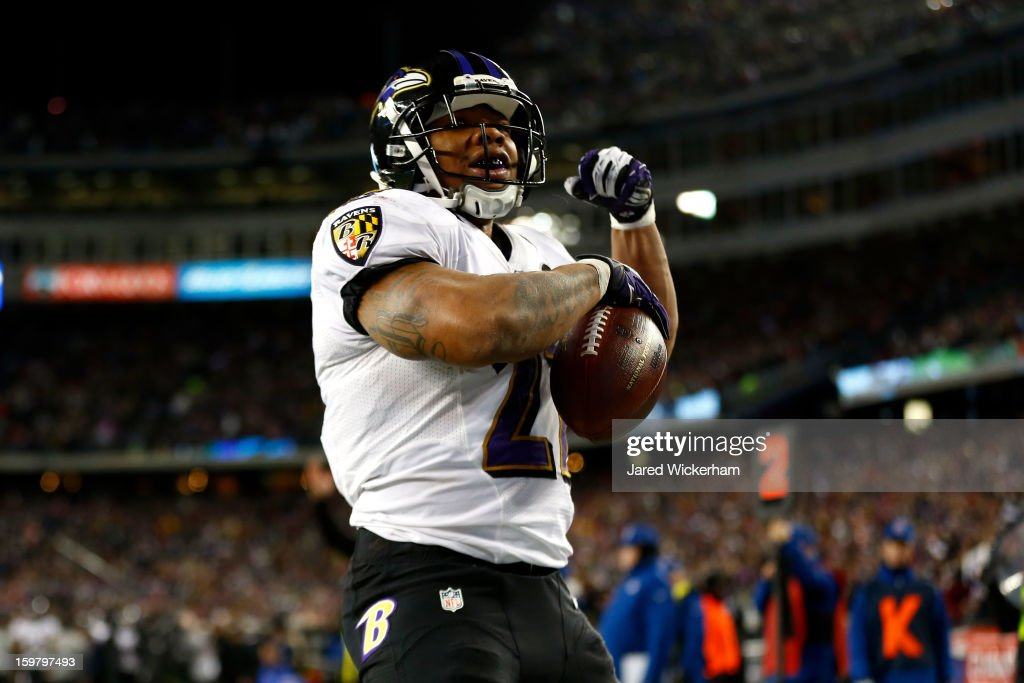 <a gi-track='captionPersonalityLinkClicked' href=/galleries/search?phrase=Ray+Rice&family=editorial&specificpeople=3980395 ng-click='$event.stopPropagation()'>Ray Rice</a> #27 of the Baltimore Ravens celebrates after scoring a touchdown in the second quarter against the New England Patriots during the 2013 AFC Championship game at Gillette Stadium on January 20, 2013 in Foxboro, Massachusetts.