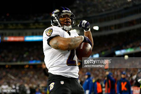 Ray Rice of the Baltimore Ravens celebrates after scoring a touchdown in the second quarter against the New England Patriots during the 2013 AFC...