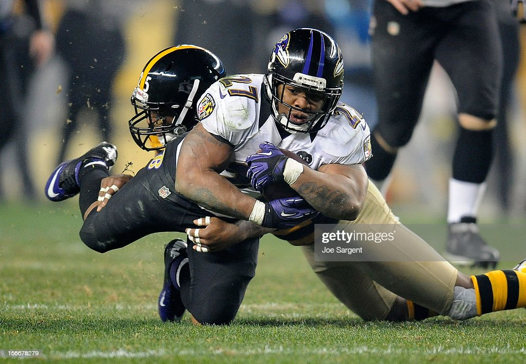 <a gi-track='captionPersonalityLinkClicked' href=/galleries/search?phrase=Ray+Rice&family=editorial&specificpeople=3980395 ng-click='$event.stopPropagation()'>Ray Rice</a> #27 of the Baltimore Ravens gets dragged down by <a gi-track='captionPersonalityLinkClicked' href=/galleries/search?phrase=Ryan+Clark+-+American+Football+Player&family=editorial&specificpeople=220744 ng-click='$event.stopPropagation()'>Ryan Clark</a> #25 of the Pittsburgh Steelers on November 18, 2012 at Heinz Field in Pittsburgh, Pennsylvania. Baltimore won the game 13-10.