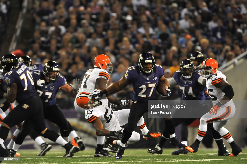 <a gi-track='captionPersonalityLinkClicked' href=/galleries/search?phrase=Ray+Rice&family=editorial&specificpeople=3980395 ng-click='$event.stopPropagation()'>Ray Rice</a> #27 of the Baltimore Ravens runs the ball against the Cleveland Browns at M&T Bank Stadium on September 27, 2012 in Baltimore, Maryland. The Ravens led the Browns 9-7 at the half.
