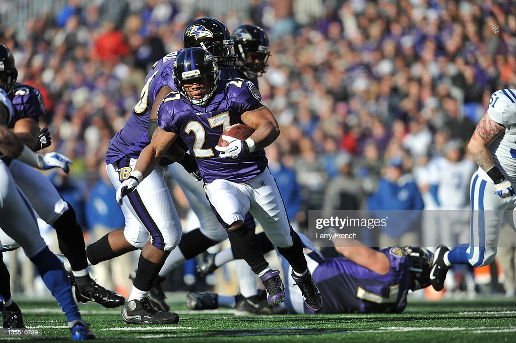 <a gi-track='captionPersonalityLinkClicked' href=/galleries/search?phrase=Ray+Rice&family=editorial&specificpeople=3980395 ng-click='$event.stopPropagation()'>Ray Rice</a> #27 of the Baltimore Ravens runs the ball against the Indianapolis Colts at M&T Bank Stadium on December 11, 2011 in Baltimore, Maryland. The Ravens defeated the Colts 24-10.