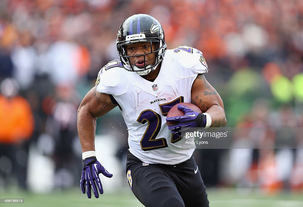 Ray Rice #27 of the Baltimore Ravens runs with the ball during the NFL game against the Cincinnati Bengals at Paul Brown Stadium on December 29, 2013 in Cincinnati, Ohio.