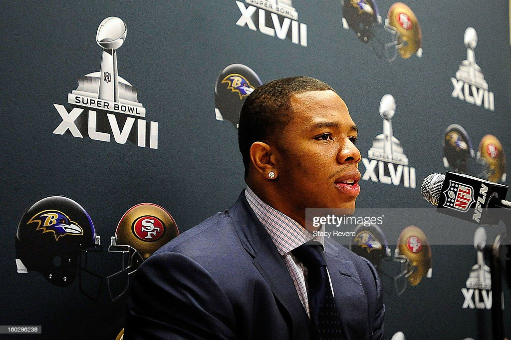 <a gi-track='captionPersonalityLinkClicked' href=/galleries/search?phrase=Ray+Rice&family=editorial&specificpeople=3980395 ng-click='$event.stopPropagation()'>Ray Rice</a>, running back for the Baltimore Ravens, speaks to the media during a media availability session for Super Bowl XLVII at the Hilton New Orleans Riverside on January 28, 2013 in New Orleans, Louisiana.