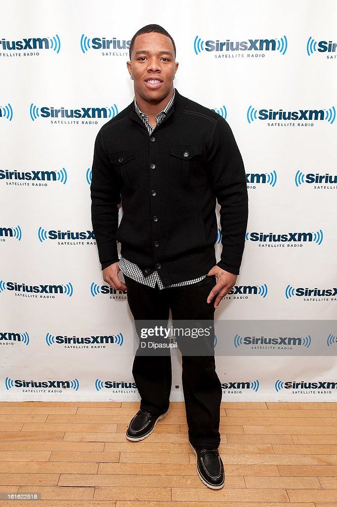 <a gi-track='captionPersonalityLinkClicked' href=/galleries/search?phrase=Ray+Rice&family=editorial&specificpeople=3980395 ng-click='$event.stopPropagation()'>Ray Rice</a> visits SiriusXM Studios on February 13, 2013 in New York City.