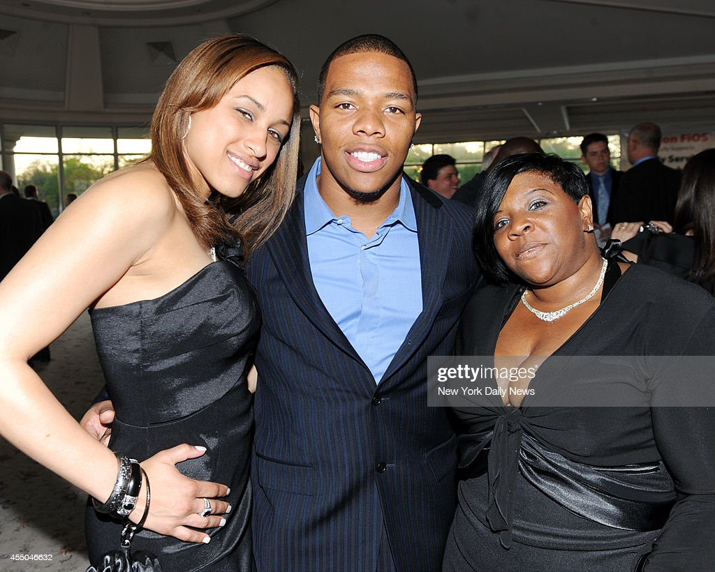 <a gi-track='captionPersonalityLinkClicked' href=/galleries/search?phrase=Ray+Rice&family=editorial&specificpeople=3980395 ng-click='$event.stopPropagation()'>Ray Rice</a> with his gal <a gi-track='captionPersonalityLinkClicked' href=/galleries/search?phrase=Janay+Palmer&family=editorial&specificpeople=13554794 ng-click='$event.stopPropagation()'>Janay Palmer</a> (left) and his mother Janet Rice on right at The Star Galla for Strengthen Teach and Reach Out to Youth and Family Service of Westchester honoring Mara and Brandon Steiner at the Glen Island Harbor Club in New Rochelle, NY
