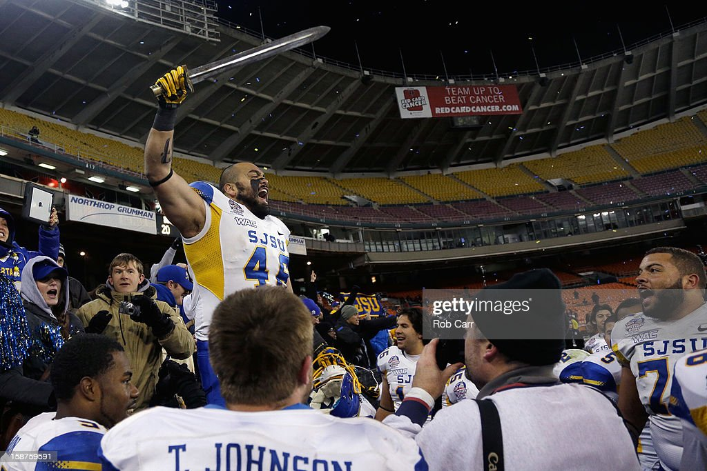 Ray Rodriguez #46 of the San Jose State Spartans celebrates after the Spartans defeated the Bowling Green Falcons 29-20 to win the Military Bowl at RFK Stadium on December 27, 2012 in Washington, DC.