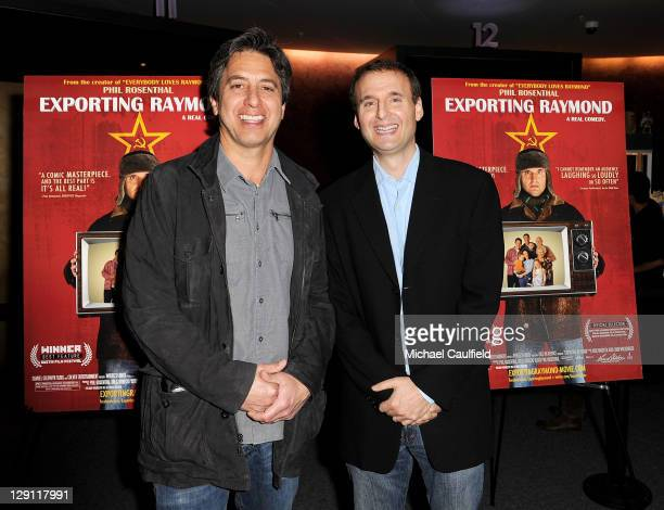 Ray Romano and Phil Rosenthal attend the Los Angeles Premiere of 'Exporting Raymond' at the Landmark Theater on April 13 2011 in Los Angeles...