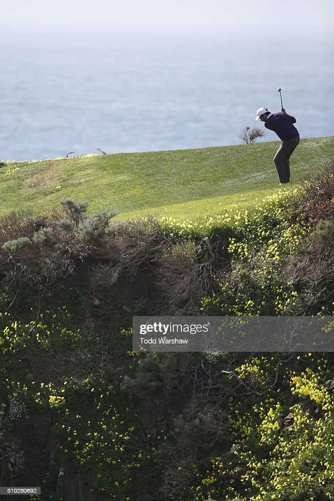 <a gi-track='captionPersonalityLinkClicked' href=/galleries/search?phrase=Ray+Romano&family=editorial&specificpeople=201675 ng-click='$event.stopPropagation()'>Ray Romano</a> plays a shot from the fairway on the eighth hole during the final round of the AT&T Pebble Beach National Pro-Am at the Pebble Beach Golf Links on February 14, 2016 in Pebble Beach, California.