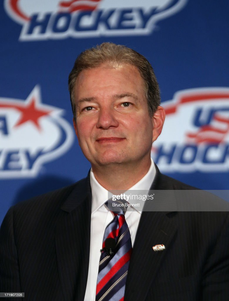 Ray Shero, associate general manager of the 2014 Men's Olympic Hockey Team speaks with the media at the Marriott Marquis Hotel on June 29, 2013 in New York City.