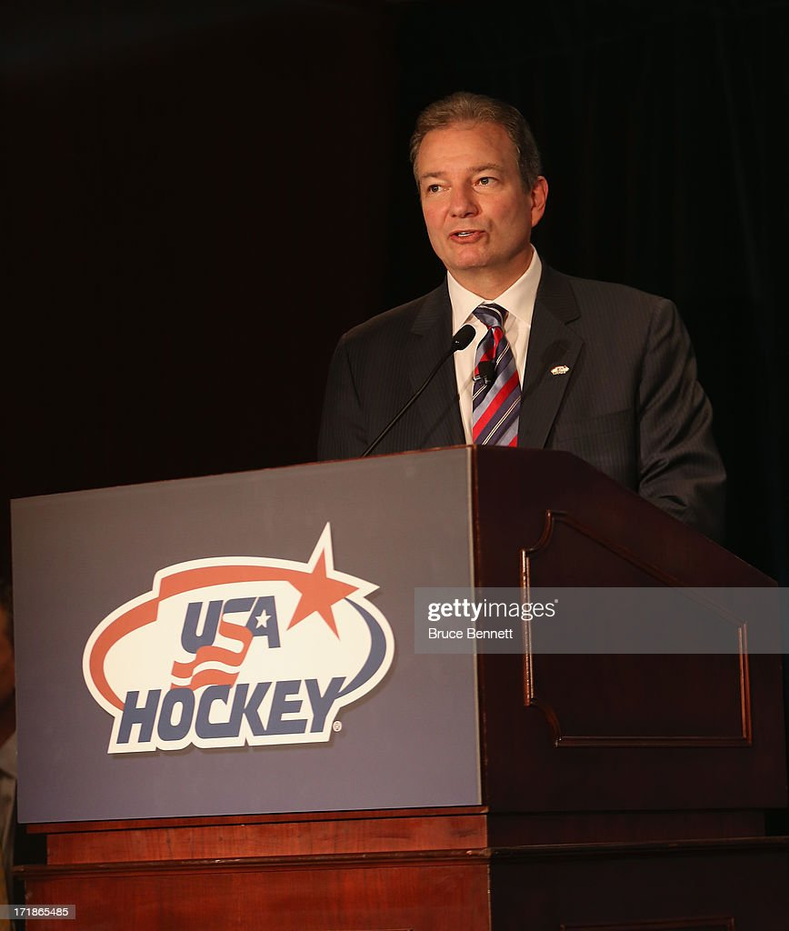 Ray Shero, the associate general manager of the 2014 Men's Olympic Hockey Team speaks with the media at the Marriott Marquis Hotel on June 29, 2013 in New York City.