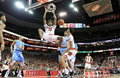 Ray Spalding of the Louisville Cardinals dunks the ball during the 7165 win over the North Carolina Tar Heels at KFC YUM Center on February 1 2016 in...