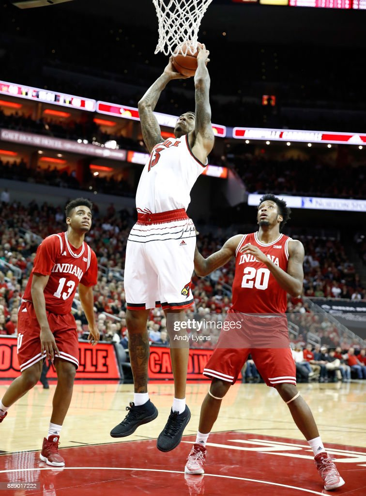 Ray Spalding #13 of the Louisville Cardinals shoots the ball during the game against the Indiana Hoosiers at KFC YUM! Center on December 9, 2017 in Louisville, Kentucky.