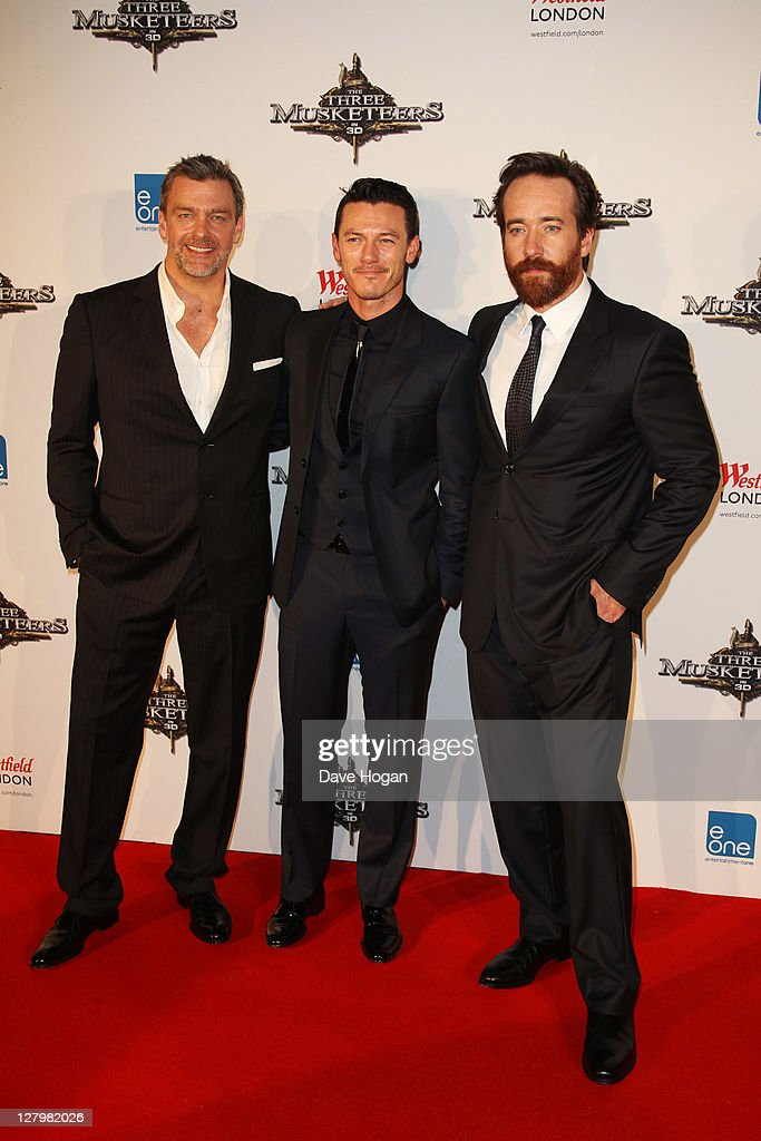 Ray Stevenson Luke Evans and Matthew Macfadyen attend the world premiere of 'The Three Musketeers in 3D' at The Vue Westfield on October 4 2011 in...
