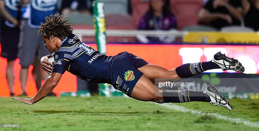 Ray Thompson of the Cowboys scores a try during the round 13 NRL match between the North Queensland Cowboys and the Newcastle Knights at 1300SMILES Stadium on June 4, 2016 in Townsville, Australia.