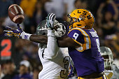 Ray Tillman of the Eastern Michigan Eagles breaks up a pass intended for John Diarse of the LSU Tigers at Tiger Stadium on October 3 2015 in Baton...