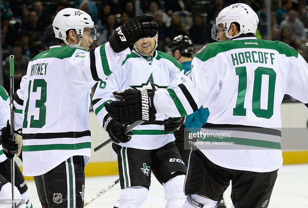 Ray Whitney and Shawn Horcoff of the Dallas Stars celebrates after Whitney scored a goal against the San Jose Sharks during the first period at SAP...