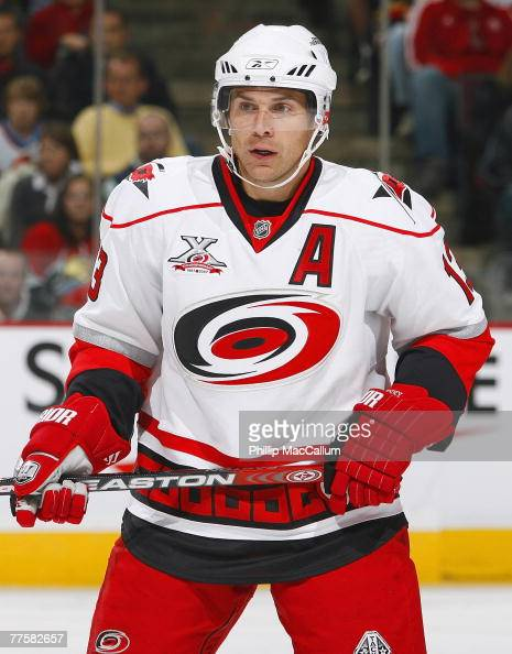 Ray Whitney of the Carolina Hurricanes looks on during the NHL game against the Ottawa Senators at the Scotiabank Place on October 11 2007 in Ottawa...