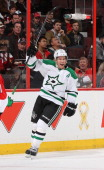 Ray Whitney of the Dallas Stars celebrates his first period goal during an NHL game against the Ottawa Senators at Canadian Tire Centre on November 3...