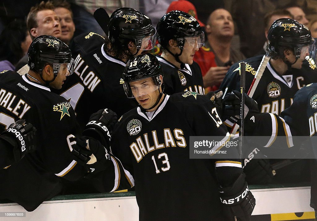<a gi-track='captionPersonalityLinkClicked' href=/galleries/search?phrase=Ray+Whitney&family=editorial&specificpeople=202090 ng-click='$event.stopPropagation()'>Ray Whitney</a> #13 of the Dallas Stars celebrates his goal against the Chicago Blackhawks at American Airlines Center on January 24, 2013 in Dallas, Texas.
