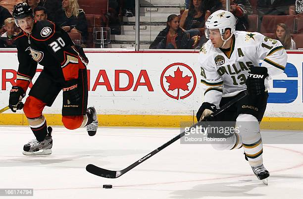 Ray Whitney of the Dallas Stars handles the puck against David Steckel of the Anaheim Ducks on April 5 2013 at Honda Center in Anaheim California